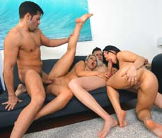 Horny foursome with two sluts