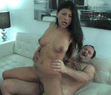 Nasty latina fucking a fat guy