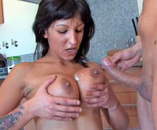 Cumming on Fayna's big boobs